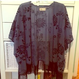 Hollister Floral Fringe Burnout Velvet Kimono